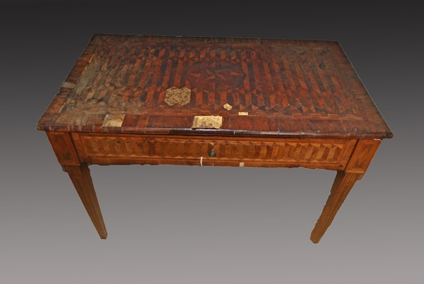 18th Centuary Italian Parquetry Table Before Restoration
