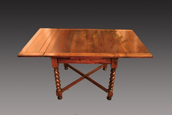 Edwardian Oak Draw Leaf Table After Restoration