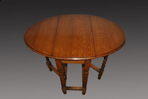 Edwardian Oak Drop Leaf Table After Restoration