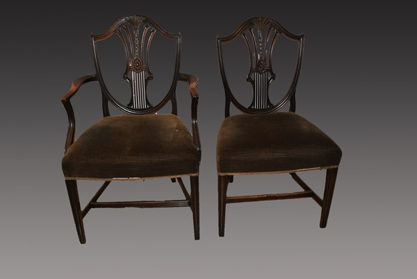 Set of 8 georgian hepplewhite mahogany chairs Before Restoration