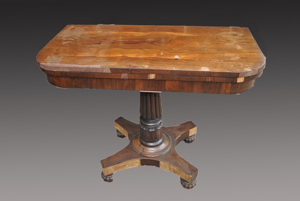 Regency Rosewood Card Table Before Restoration